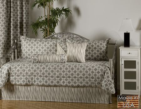 metro daybed bedding features a striking two tone geometric print comforter and king pillow shams set