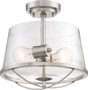 Designer's Fountain 87011 Darby Semi-Flush Ceiling Lights -  87011-SP Satin Platinum Clear Seedy Glass Rustic Ceiling Lights - Deep Discount Lighting