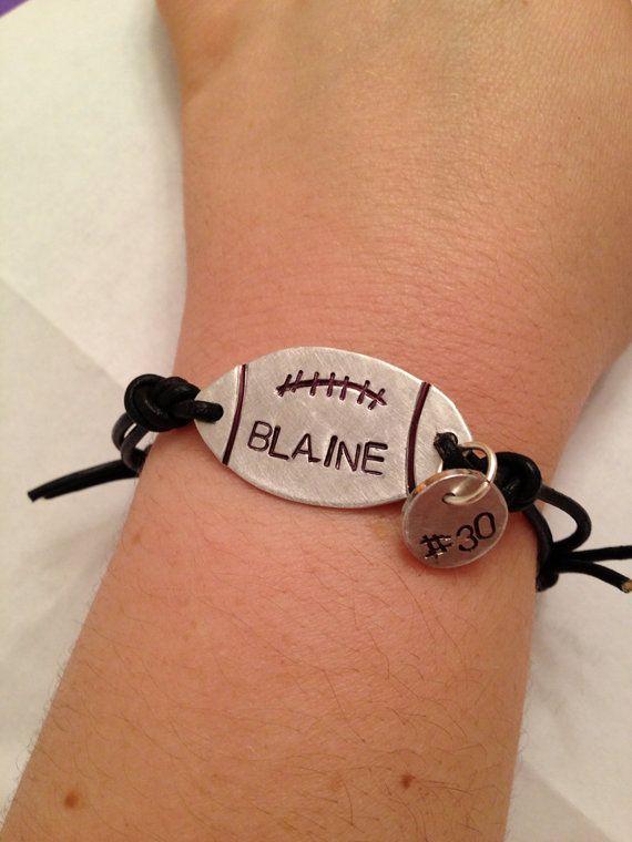 Handmade Football bracelet  stamped leather by Plierswiresandbeads, $15.00