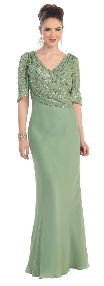 Plus Size Short Sleeve Sequins Chiffon Mother of the Bride Formal Long Dress #TheDressOutlet #Formal