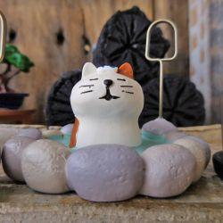 DECOLE デコレ コンコンブル 露天風呂猫 カードホルダー まったりネコ 温泉猫 ミニチュア人形