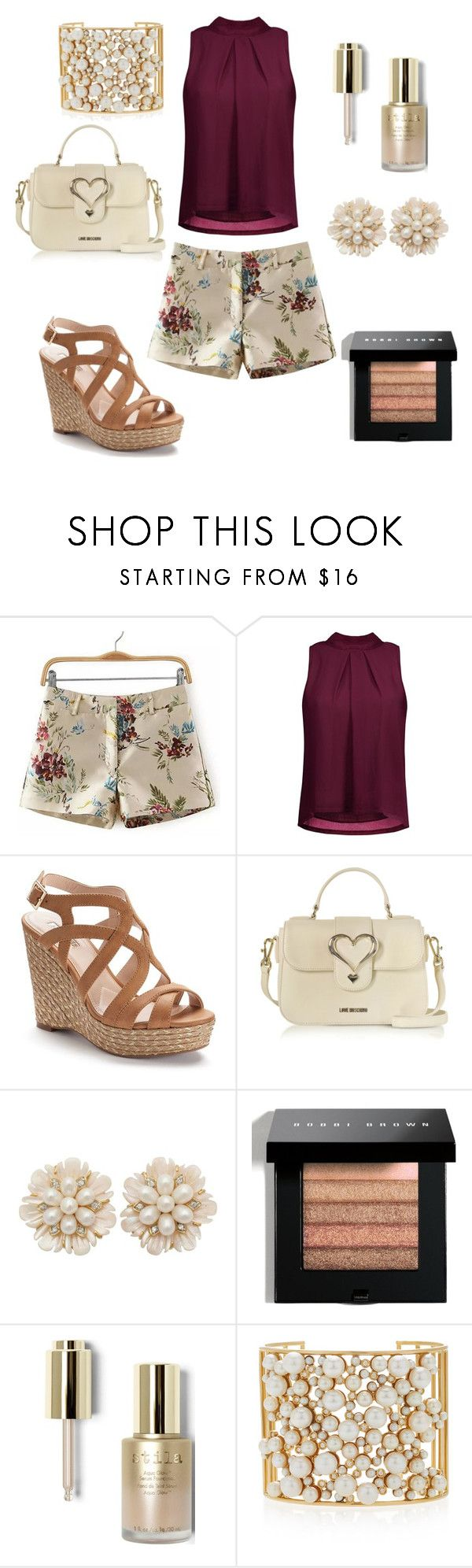 """summer vibes"" by krissybob ❤ liked on Polyvore featuring Jennifer Lopez, Love Moschino, Bobbi Brown Cosmetics, Stila and Nancy Newberg"