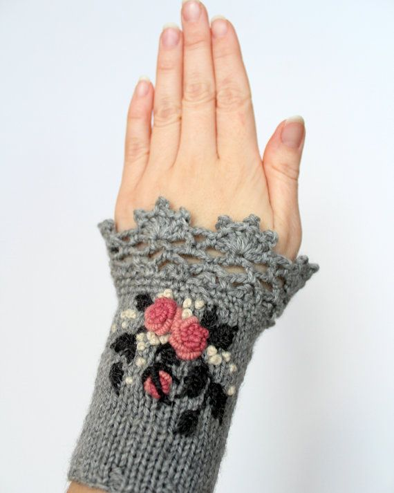 Knitted Fingerless Gloves, Gloves & Mittens, Gift Ideas, For Her Accessories, Winter Accessories,Spring Celebrations, Grey,Roses,Embroidered