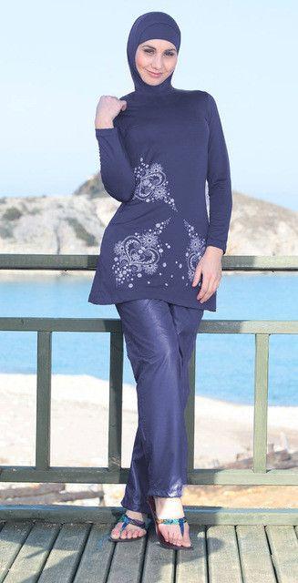 Flower Muslim Swimwear Full Covered Modest Hijab Swim Clothes Maillot De Bain Femme Musulmane Islamic Swim Wear Plus Size M-1826