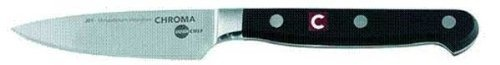 """JapanChef 3 1/2"""" Paring Knife (Steel) (1""""H x 2.25""""W x 13""""L) by Chroma. $42.99. Color: Steel. Made from ice-hardened steel. Each sold separately. Affordable professional quality. Size: 1""""H x 2.25""""W x 13""""L. The JapanChef 3 1/2"""" Paring Knife! The JapanChef collection consists of high quality """"no frills"""" affordable stainless steel knives.These professional quality knives aremadefrom ice-hardened steel, traditionally forged and sharpened with the typical Japanese ..."""
