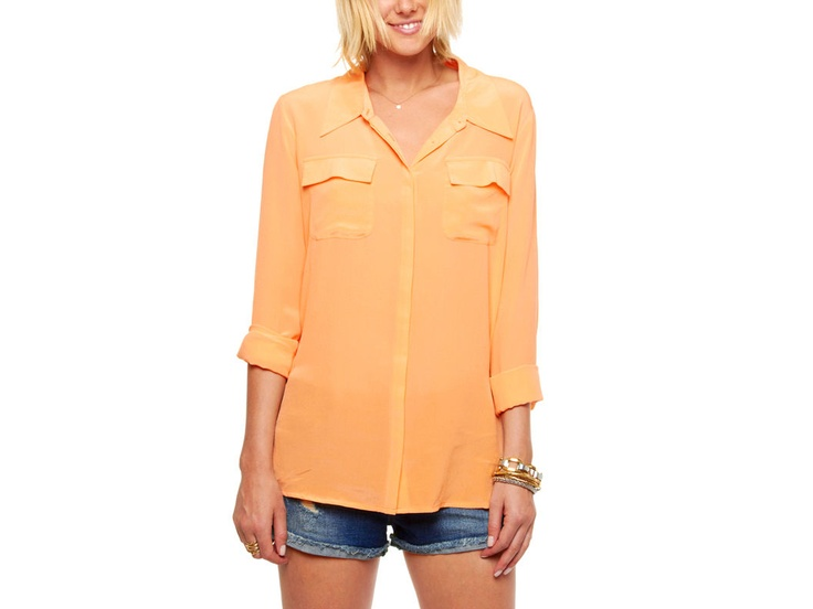 love the orange: Colour, Blouses, Button Up, Pockets, Cute Summer Outfits, Dresses Outfits, Style Summer, Bright Colors