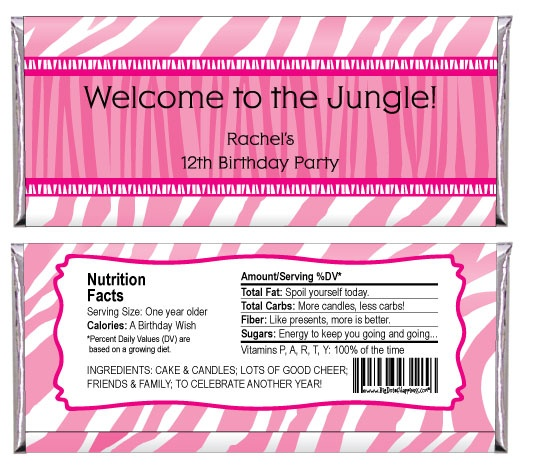 Pink Zebra - Personalized Candy Bar Wrapper Birthday Party Favors - Preteen Birthday Party Themes
