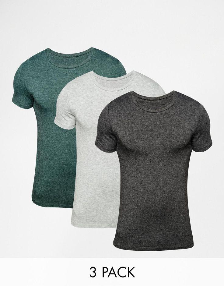 Muskelshirt T-Shirt von ASOS sehr elastischer Jerseystoff Rundhalsausschnitt eng geschnittene Ärmel sitzt eng am Körper superenge Passform Maschinenwäsche 64% Polyester, 30% Baumwolle, 6% Elastan Unser Model trägt Größe M und ist 185,5 cm/6 Fuß, 1 Zoll groß Dreierset