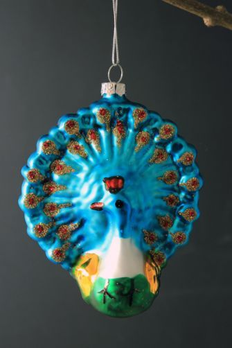 Set of 4 Glass Blue Peacock Christmas Tree Decorations