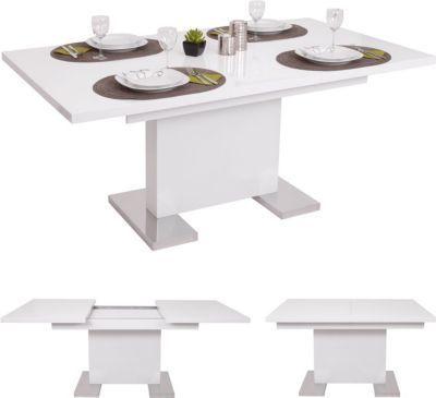 heute wohnen esstisch hwc b49 esszimmertisch tisch ausziehbar hochglanz edelstahl 120 160x90cm jetzt bestellen unter - Erweiterbar Runden Podest Esstisch