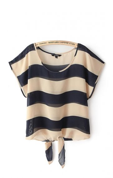 Navy and Tan Stripes Print Short Batwing Sleeves Chiffon Casual T-shirt #Nautical #Navy #Summer #Fashion