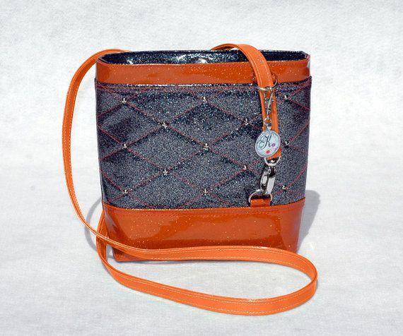 #SoKwaint #Black & #Orange #GlitterVinyl #CrossbodyBag by #KwaintAccessories on #etsy #handmade #handbags #fashion  #trending #vegan  #handcrafted #supportsmallbusiness #smallbusiness #handbag #bags #perth