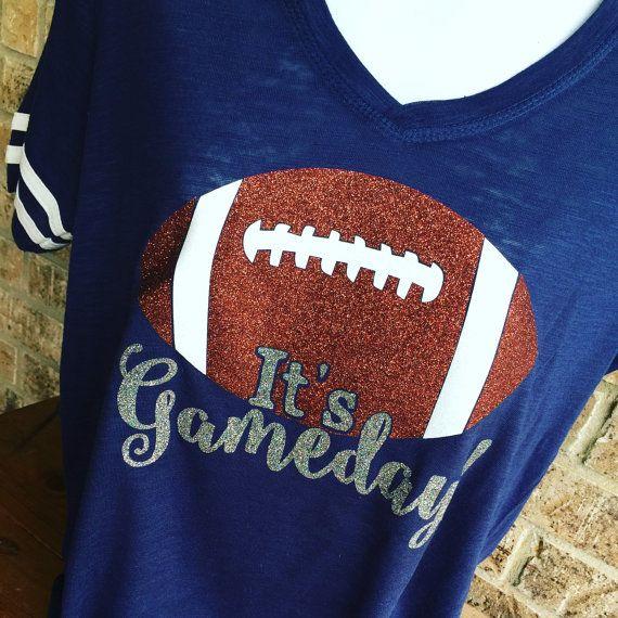 V- Neck It's Gameday Glitter Football T-Shirt, Football Shirt, Football Mom…