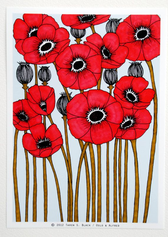 The Red Poppies  Illustration by Taren S Black by osloANDalfred,pinned by www.funkyfabrix.com.au