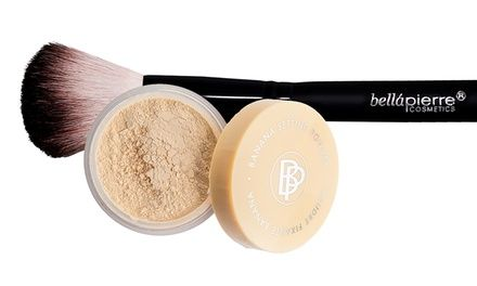 Banana setting powder helps color-correct redness and undereye circles; comes with a fluffy vegan brush