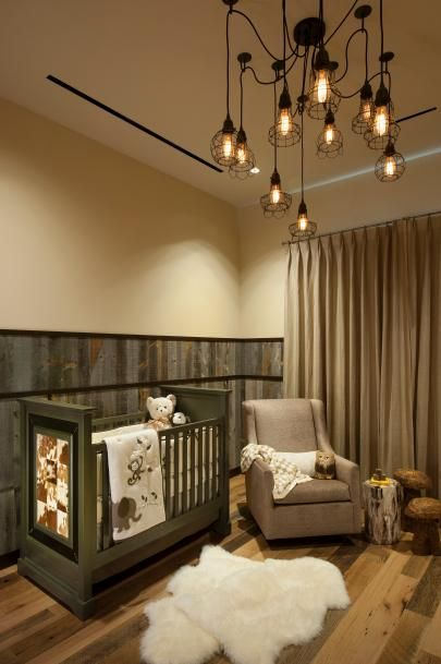 Rustic Nursery With Neutral Color Palette and Industrial Chandelier