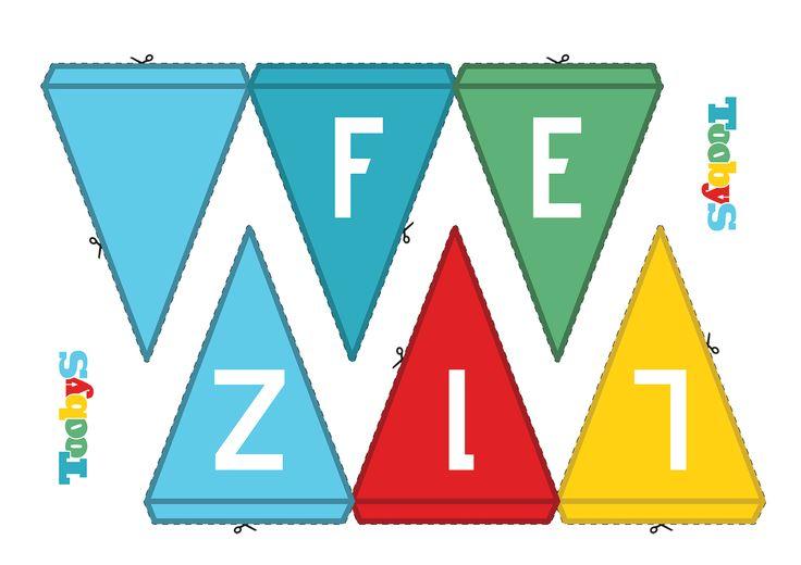 "Banderín ""Feliz"". #FelizCumple #Toobys #Cumpleaños #KitdeCumpleaños #FiestasInfantiles"