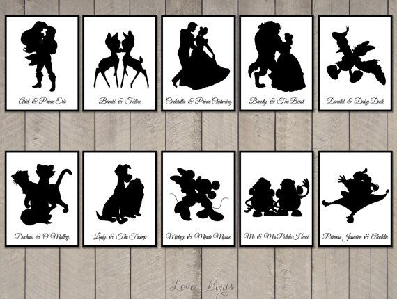 Wedding Disney Couple Silhouette table cards - Digital file by SophiesLovebirds on Etsy #wedding #Disney