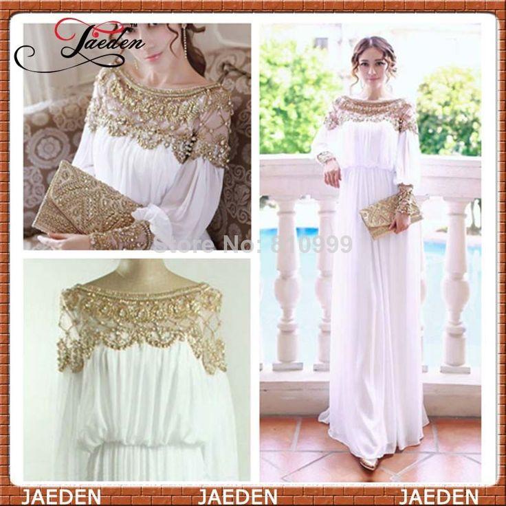 Free shipping floor-length heavy beaded chiffon fancy dubai women kaftan abaya prom dress gown design caftan fashion 2014 PP251  $138.00