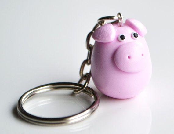 Schwein Schlüsselanhänger Keychain, Fimo, Polymer Clay