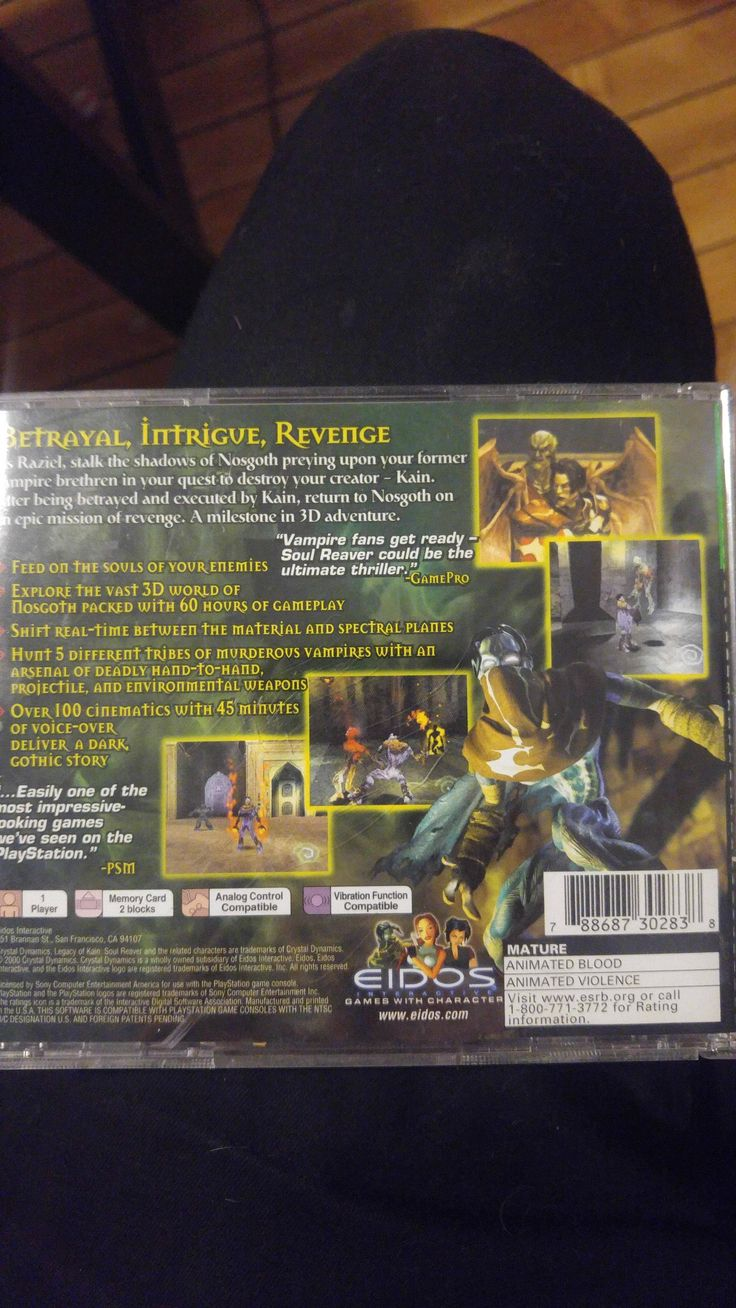 Back cover of my legacy of kain: Soul reaver case. One of my favorites