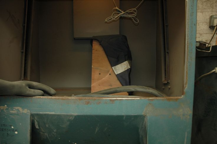 jacket in sandblasting cabinet