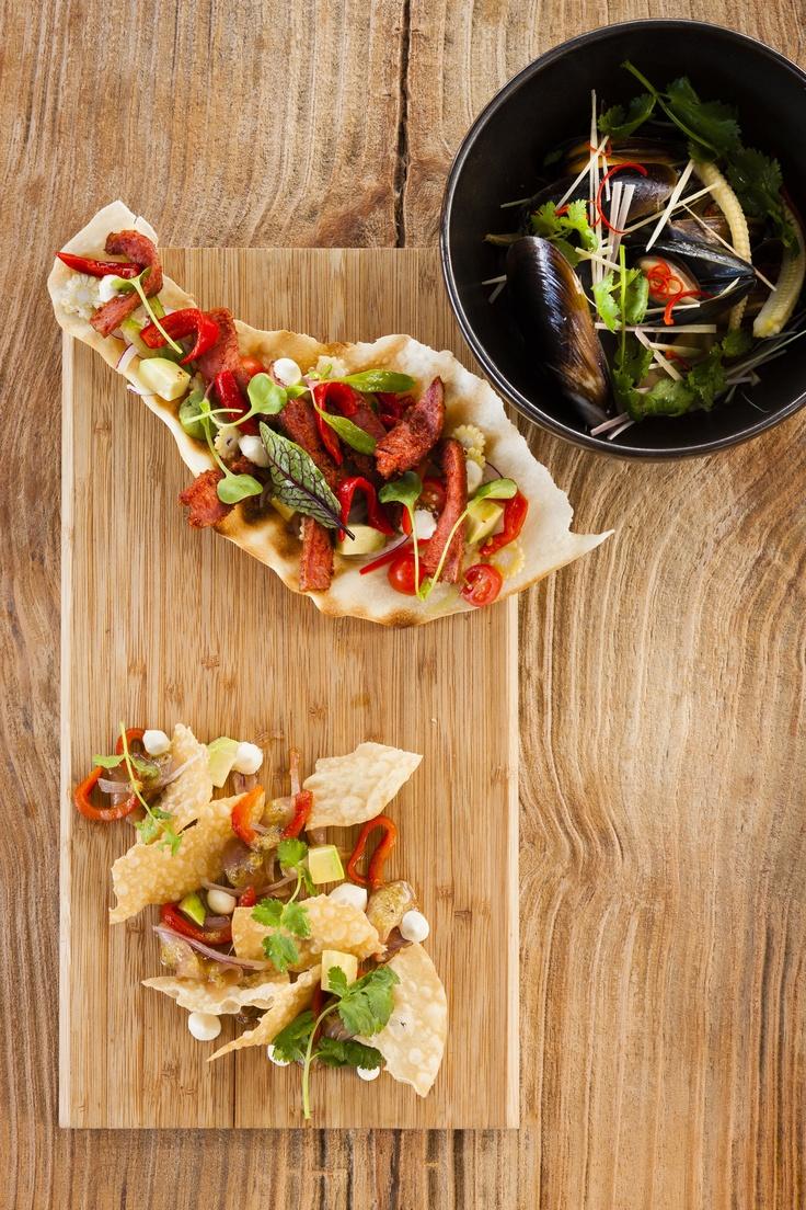 The Pot Luck Club - Fish tacos,mussles with masiman sauce,bbq tongue tostada