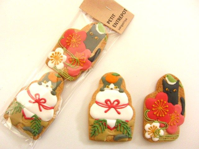 日本人のおやつ♫(^ω^) Japanese Sweets 和風ニャンコクッキー。Japanese New Year Cat-Cookies 焼菓子屋さん