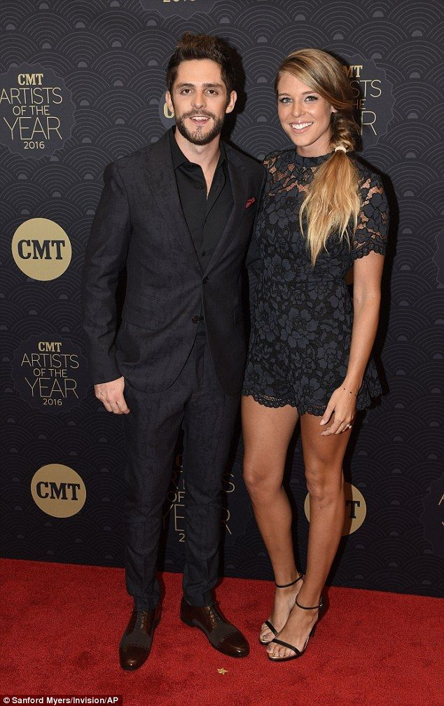 Matching couple: Thomas Rhett (left), another honouree, posed with his wife Lauren Gregory (right)