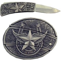 Antique Style Horseshoe and Star with Knife Belt Buckle