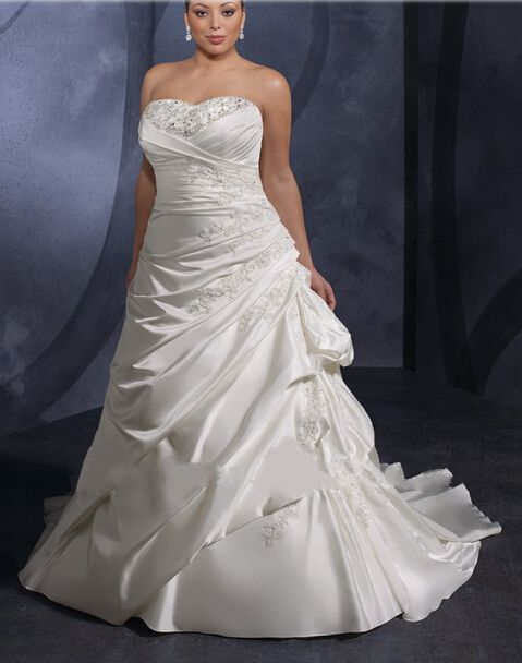 Cheap Satin Strapless Corset Sweetheart Wedding Dress For Fat Women  Free Measurement