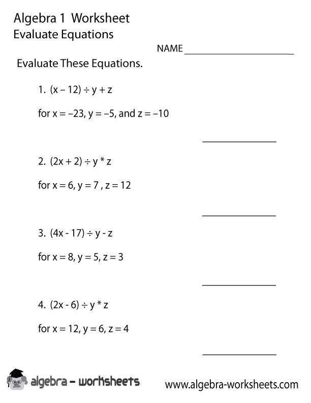 Printables High School Algebra 1 Worksheets 1000 images about algebra worksheets on pinterest math evaluate equations 1 worksheet