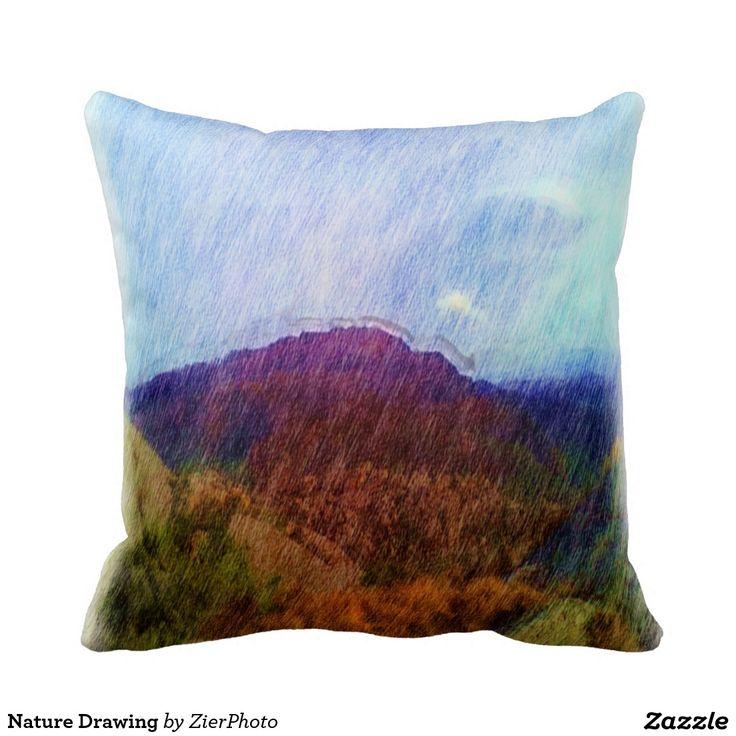 Nature Drawing Throw Pillow