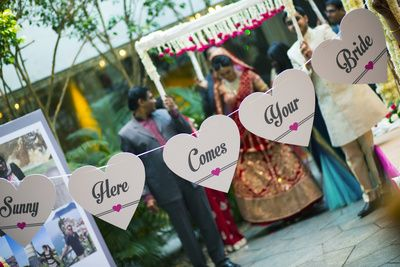 here comes your bride  banner , bridal entry ideas , heart shapes