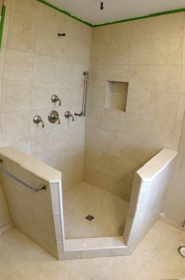 stand up shower with knee walls schluter shower kit custom niche