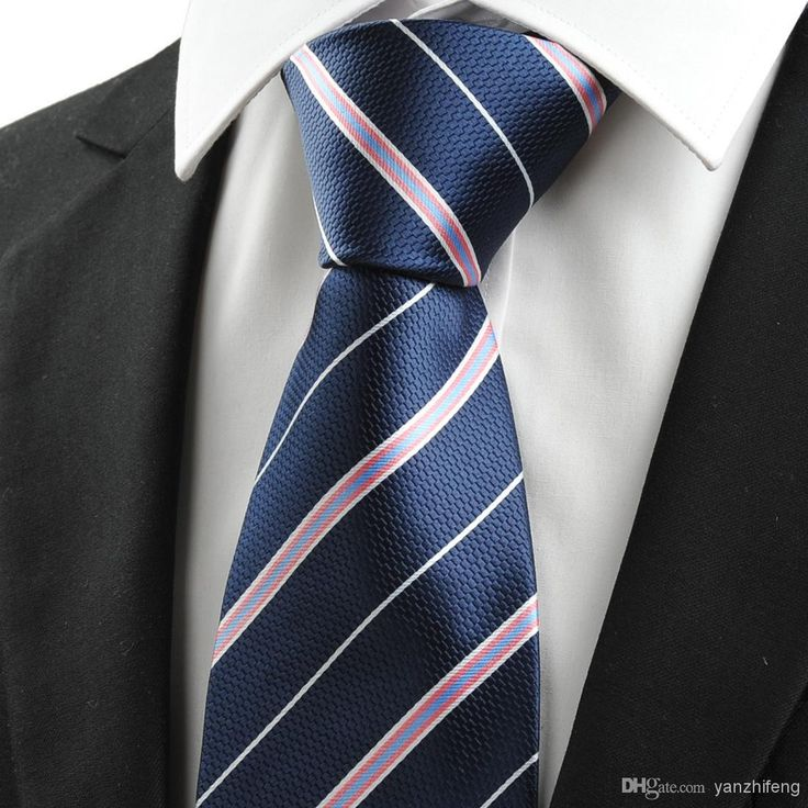 Hot Sale Neck Ties Pink White Striped Navy Blue Jacquard