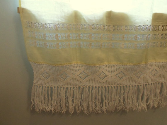 Yellow Fringed Curtains Macrame Style Retro by MountainThyme1, $65.00