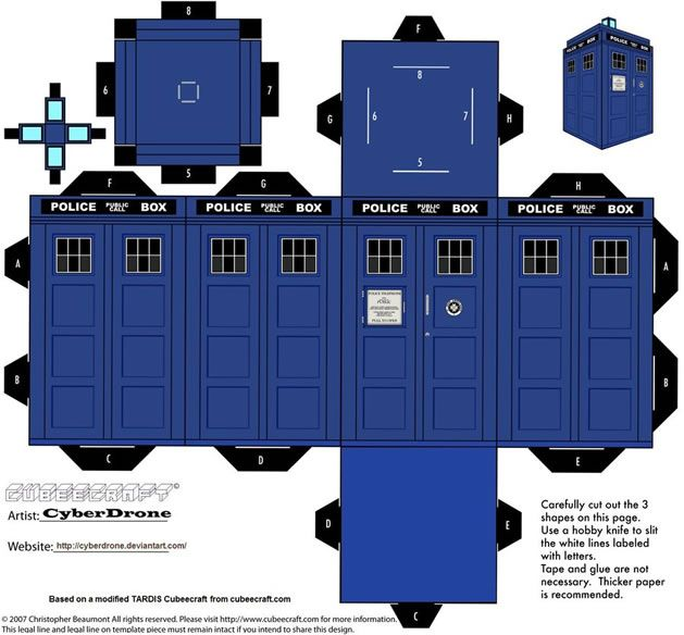 "Print and Fold TARDIS, brought to you by Deviant Artist ""CyberDrone"" and posted on Craft magazine site."