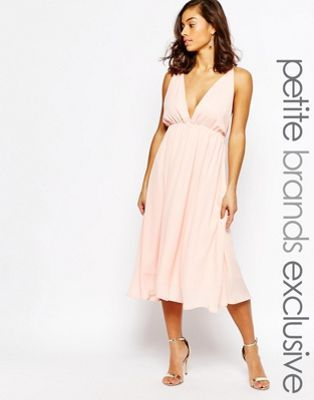 True Decadence Petite Cami Plunge Front And Back Midi Skater Dress