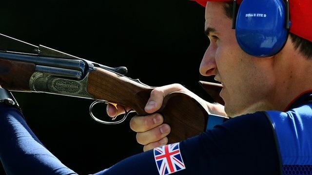 Peter Wilson winning shooting gold (BBC)