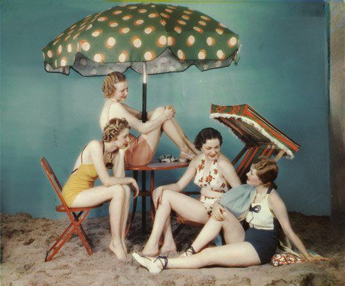 Rare color image from the early 30s, showing off the wonderful fabrics of these swimsuits
