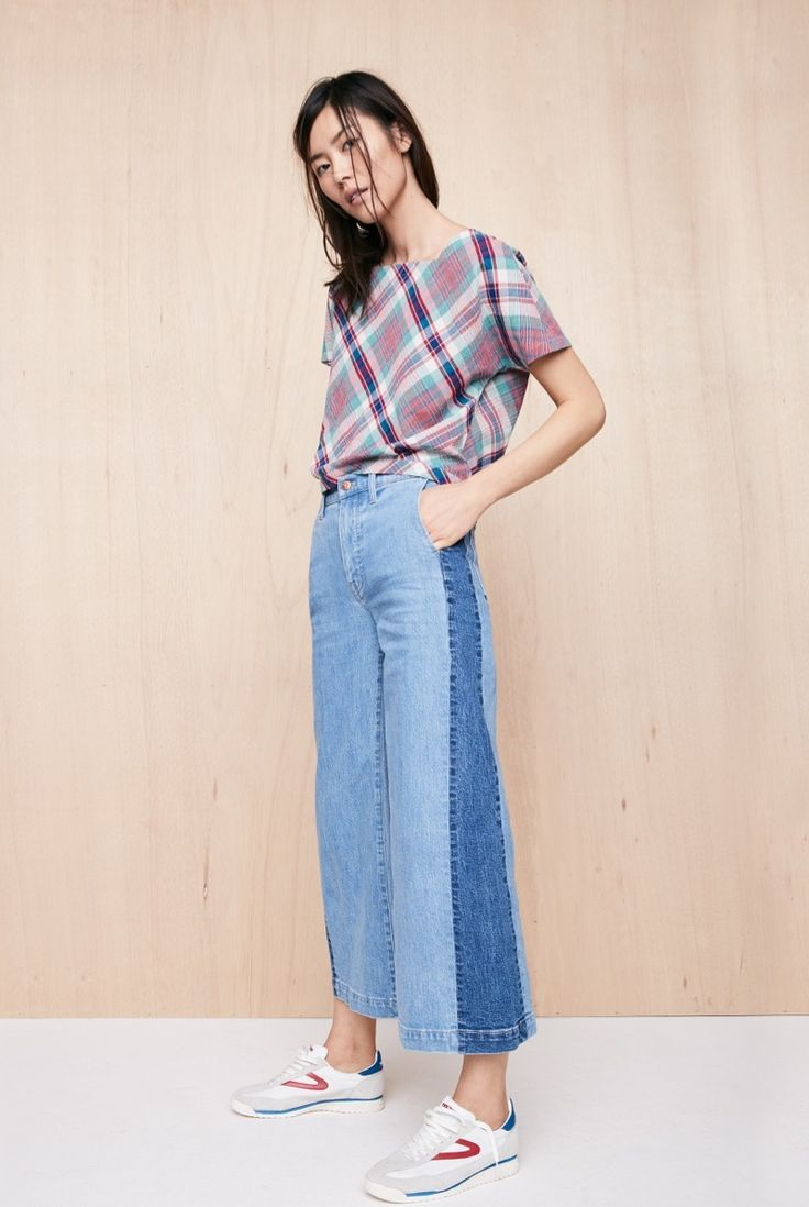 Madewell Plaid Tie-Back Top, Wide-Leg Crop Jeans and Tretorn Rawlins3 Sneakers