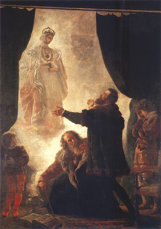 Pan Twardowski summons Barbara's ghost. Painting by Wojciech Gerson (1831-1901)