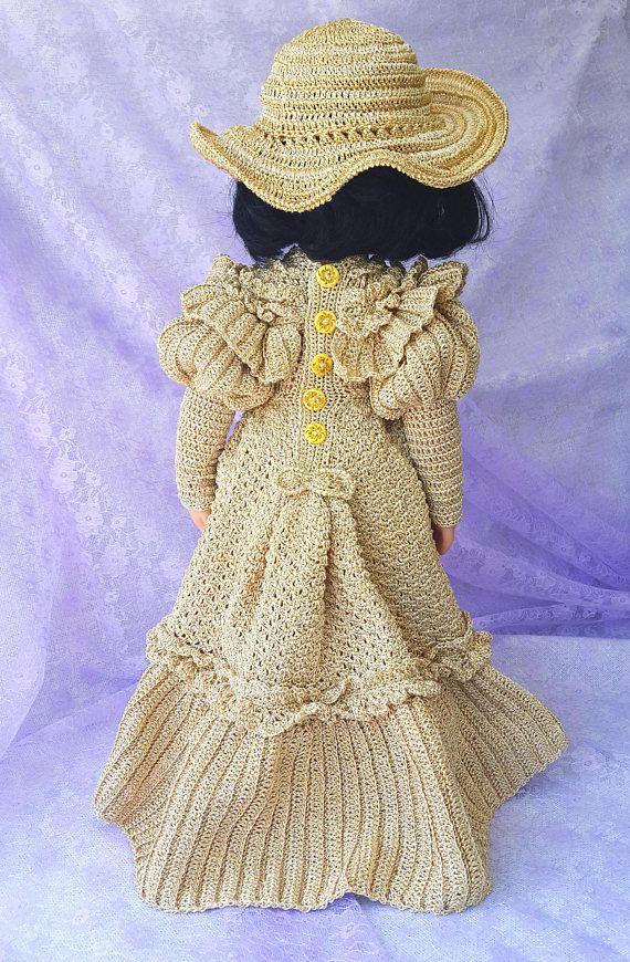 Crochet vestido y sombrero para muñecas de Gotz  para