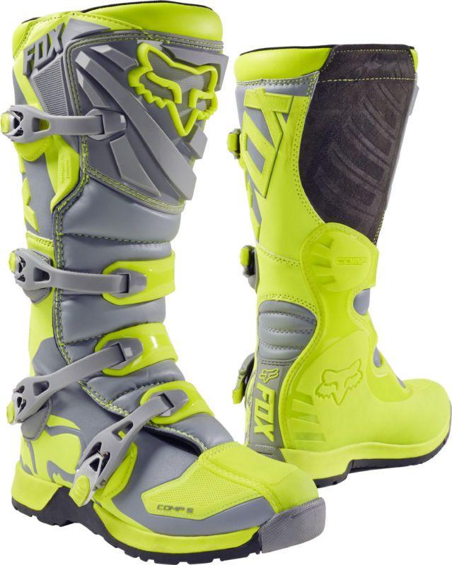 Fox Racing Youth Hi-Vis Yellow/Grey Comp 5 Dirt Bike Boots 2017 ATV MX