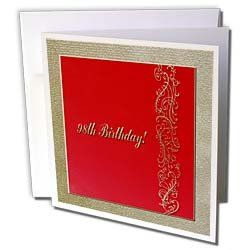 """Beverly Turner Birthday Design - 98th Birthday Red and Gold Design - Greeting Cards-12 Greeting Cards with envelopes by Beverly Turner Photography. $15.95. 98th Birthday Red and Gold Design Greeting Card is a great way to say """"thank you"""" or to acknowledge any occasion. These blank cards are made of heavy duty card stock with a gloss exterior and a matte interior for smudge free writing. Cards are creased for easy folding and come with white envelopes. Available..."""