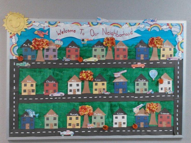 Fall bulletin board with transportation unit added.