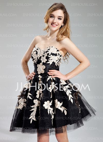 Homecoming Dresses - $136.99 - A-Line/Princess Sweetheart Short/Mini Tulle Charmeuse Homecoming Dress With Ruffle Beading Appliques (022019176) http://jjshouse.com/A-Line-Princess-Sweetheart-Short-Mini-Tulle-Charmeuse-Homecoming-Dress-With-Ruffle-Beading-Appliques-022019176-g19176