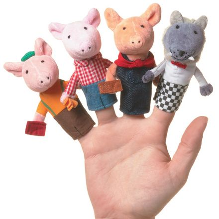 MANHATTAN TOY Three Little Pigs Boxed Finger Puppet Set