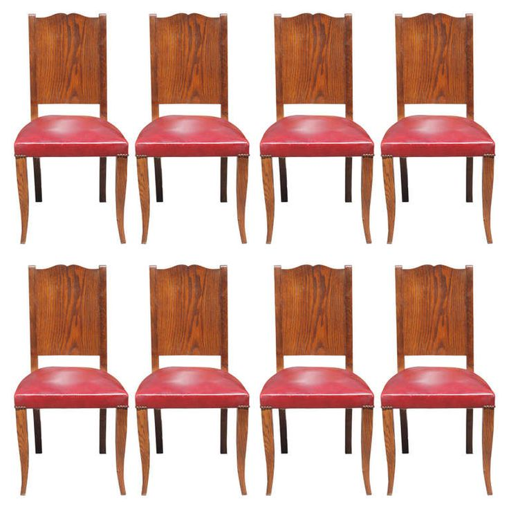 Set 8 French Art Deco Tiger Oak Dining Chairs By Alfred Portenueve